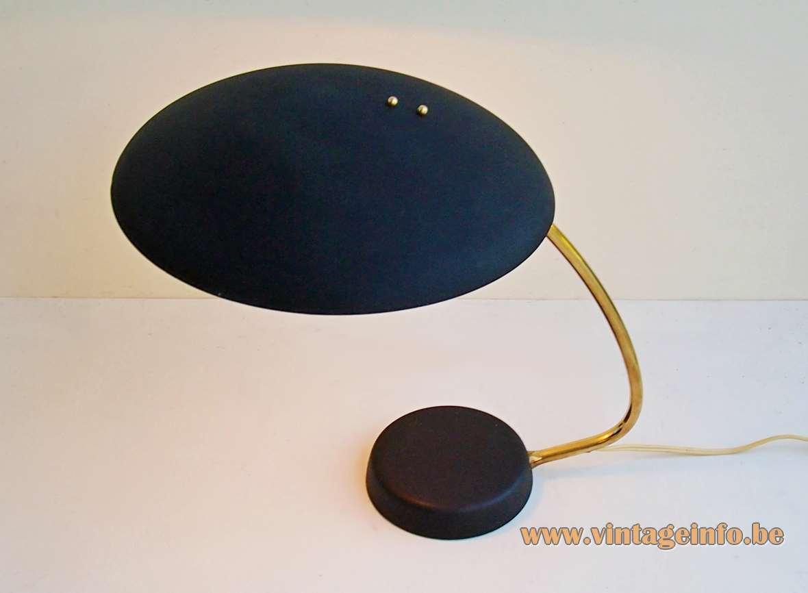 Gebrüder Cosack UFO desk lamp Gecos Germany 1950s 1960s cast iron black wrinkle paint brass aluminium