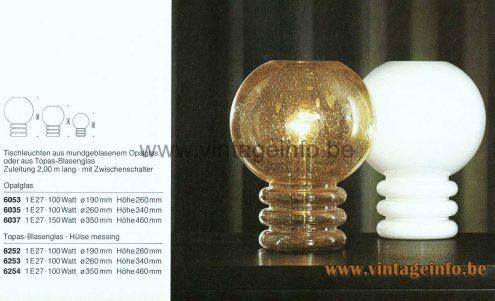 Glashütte Limburg Opal Glass Table Lamp - 1979 Catalogue Picture