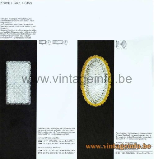 Glashütte Limburg Rectangular Wall Lamp - 1979 Catalogue Picture - Kristall + Gold + Silber