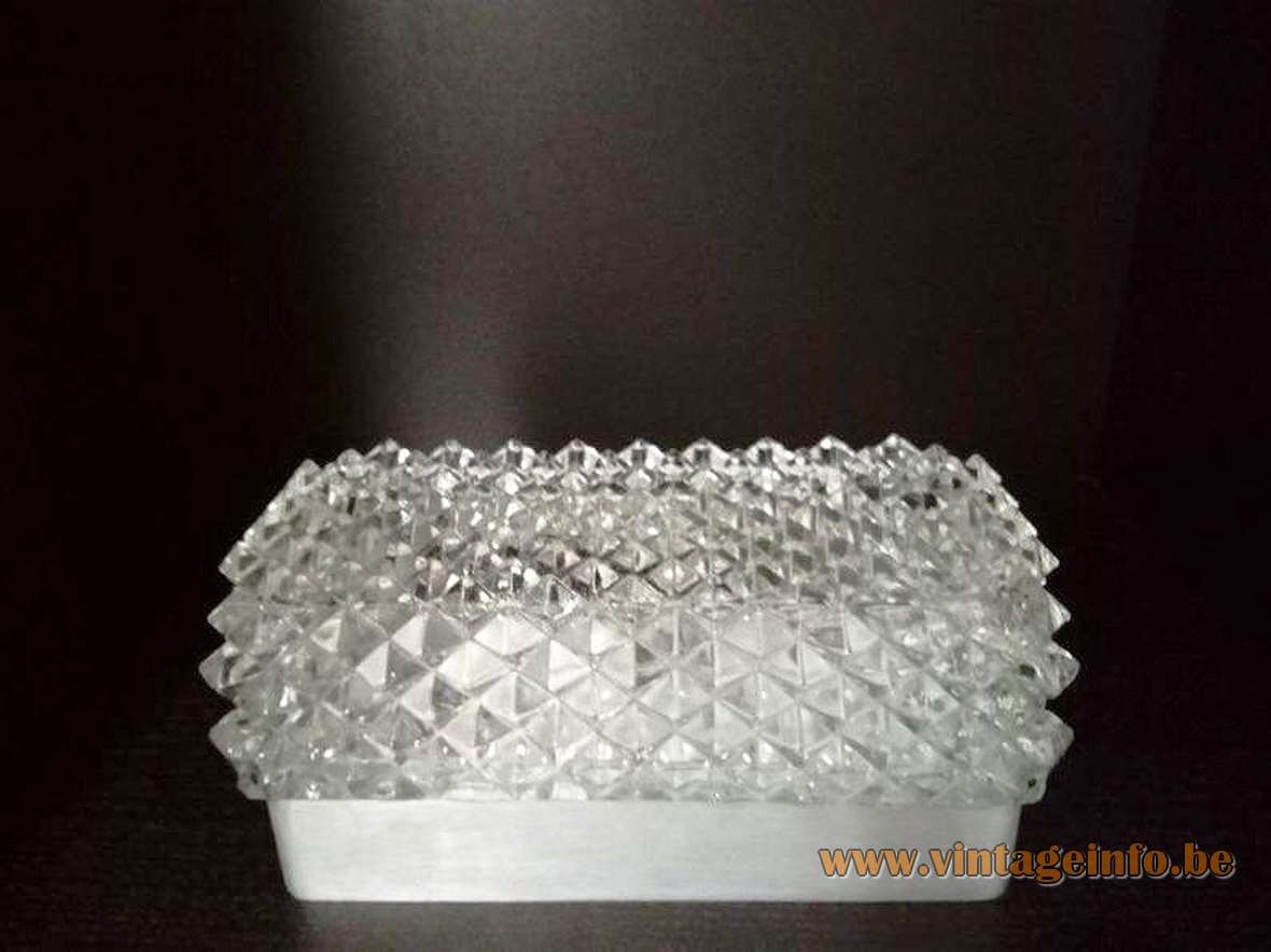 Glashütte Limburg rectangular wall lamp pressed glass diamond shape design aluminium body 1970s 1980s