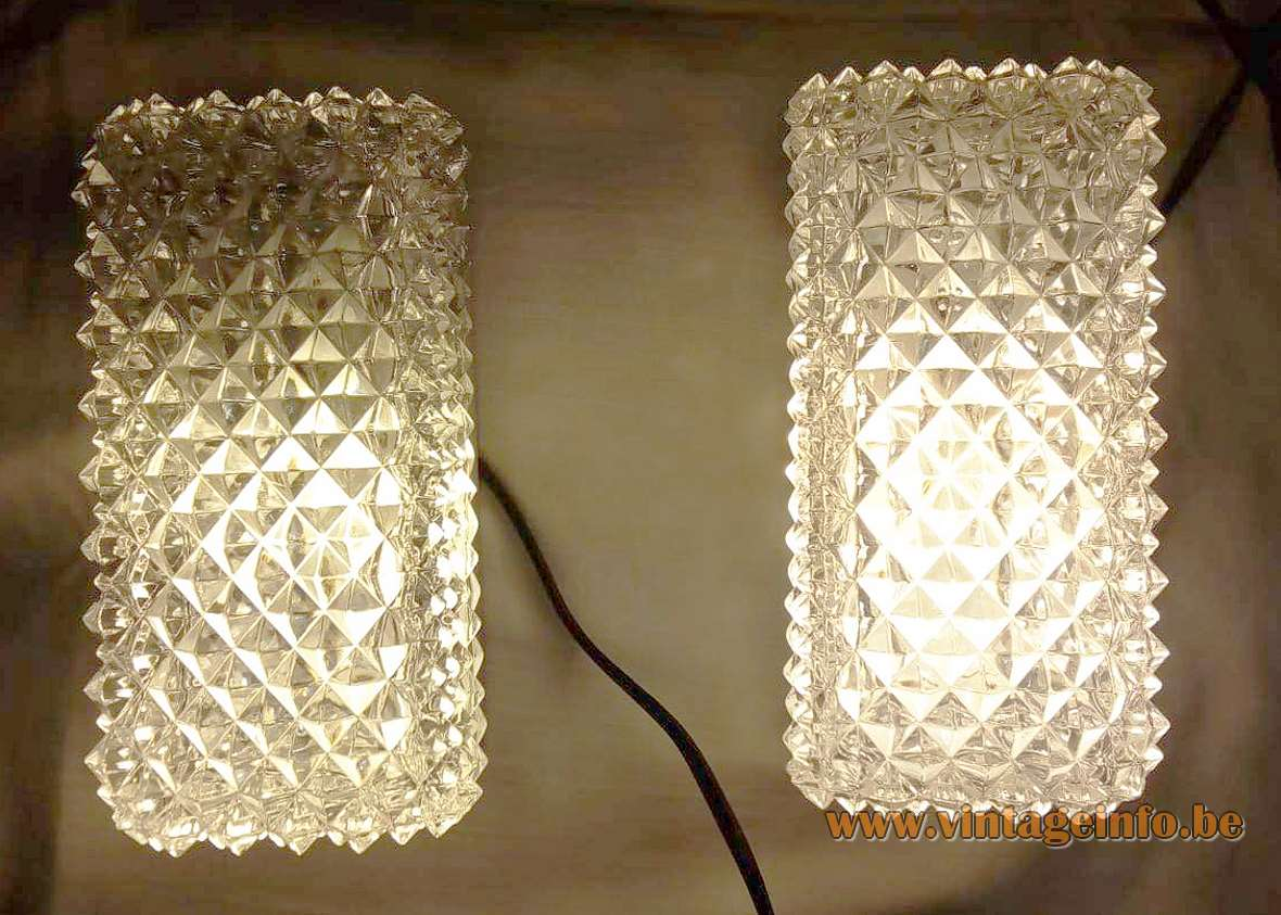 Glashütte Limburg rectangular wall lamp pressed glass diamond shape design 1970s 1980s aluminium body