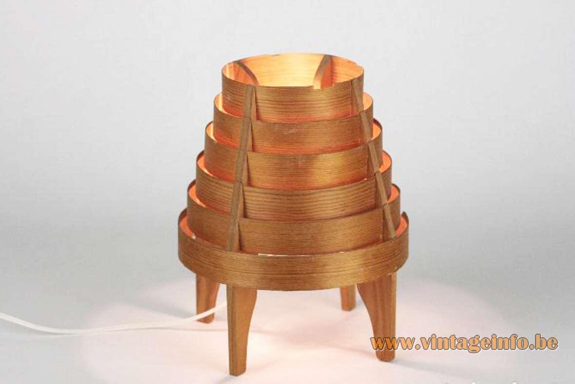 Hans-Agne Jakobsson pine slats table lamp 1960s AB Elysett Sweden MCM 1970s E14 socket
