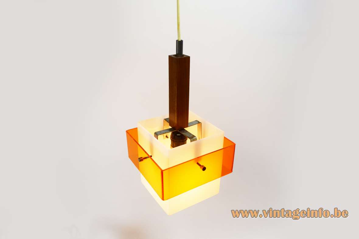 Harvey Guzzini Marconi pendant lamp square white & clear orange acrylic 1960s Luigi Massoni Perspex MCM Mid-Century Modern