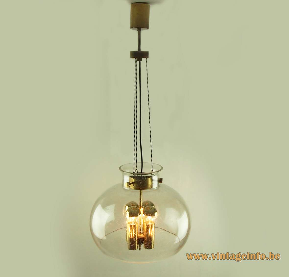 Herbert Proft Glashütte Limburg chandelier clear glass globe 4 brass tubes rods & chains 1970s Germany