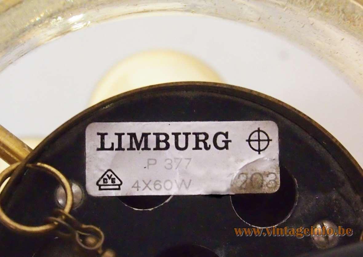 Herbert Proft Glashütte Limburg chandelier clear glass globe 4 brass tubes rods & chains 1970s Germany label
