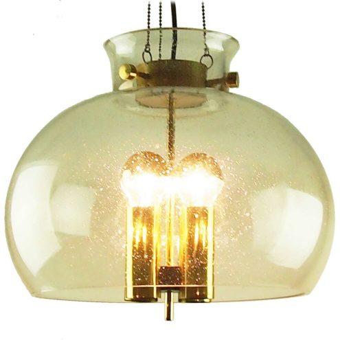 Herbert Proft Glashütte Limburg chandelier glass globe brass 1970s 4 E27 light bulbs Germany chain MCM