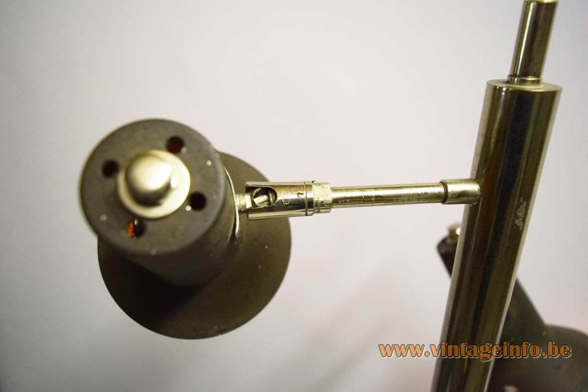 Koch and Lowy OMI floor lamp black base chrome rod 3 lampshades Solken Leuchten Germany 1970s