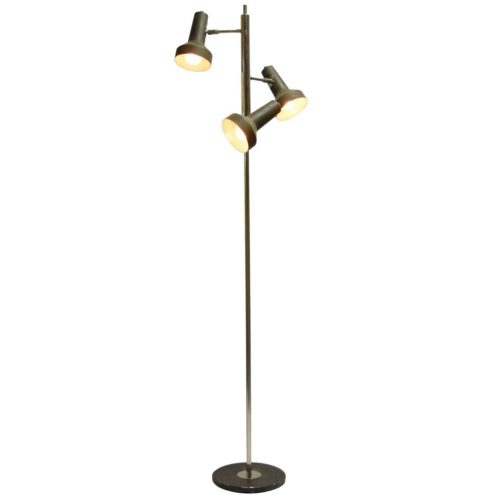 Koch and Lowy OMI floor lamp 3 lights 1970s black round base chrome rod Solken Leuchten Germany MCM