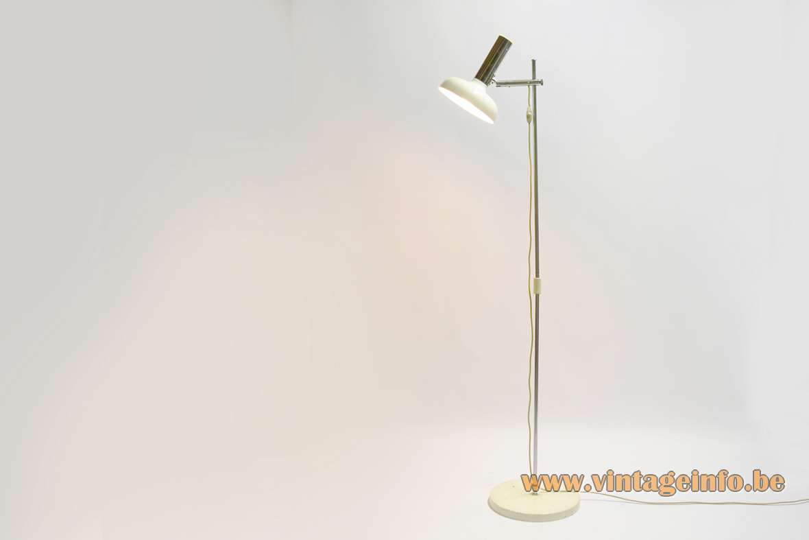 Koch & Lowy Floor Lamp OMI 1960s 1970s metal round base chrome rod Solken Leuchten Germany MCM