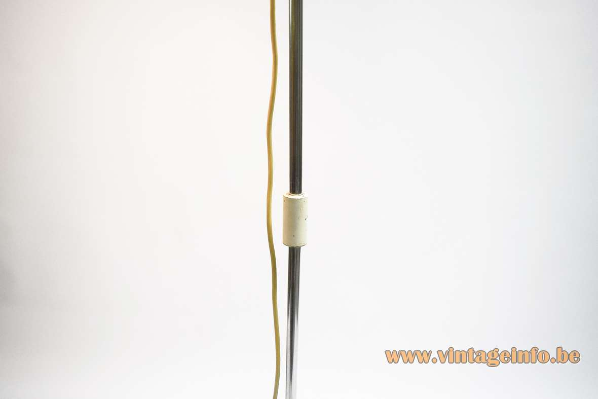 Koch & Lowy floor lamp OMI white round base lampshade chrome rod Solken Leuchten Germany 1960s 1970s