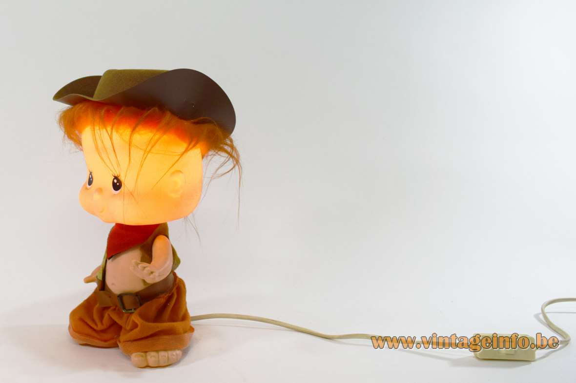 Linea Zero Bobblehead cowboy doll table lamp plastic PVC 1970s 1980s Italy MCM