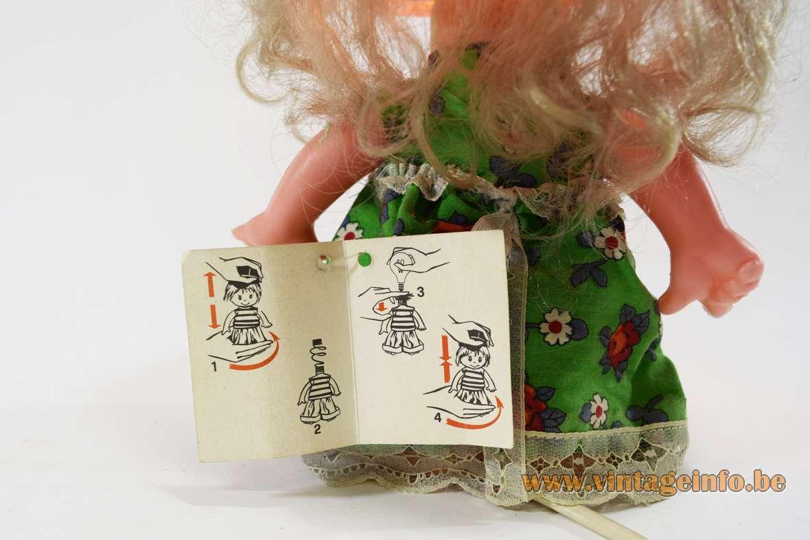 Linea Zero bobblehead rag doll table lamp plastic PVC 1970s 1980s Italy MCM - Label