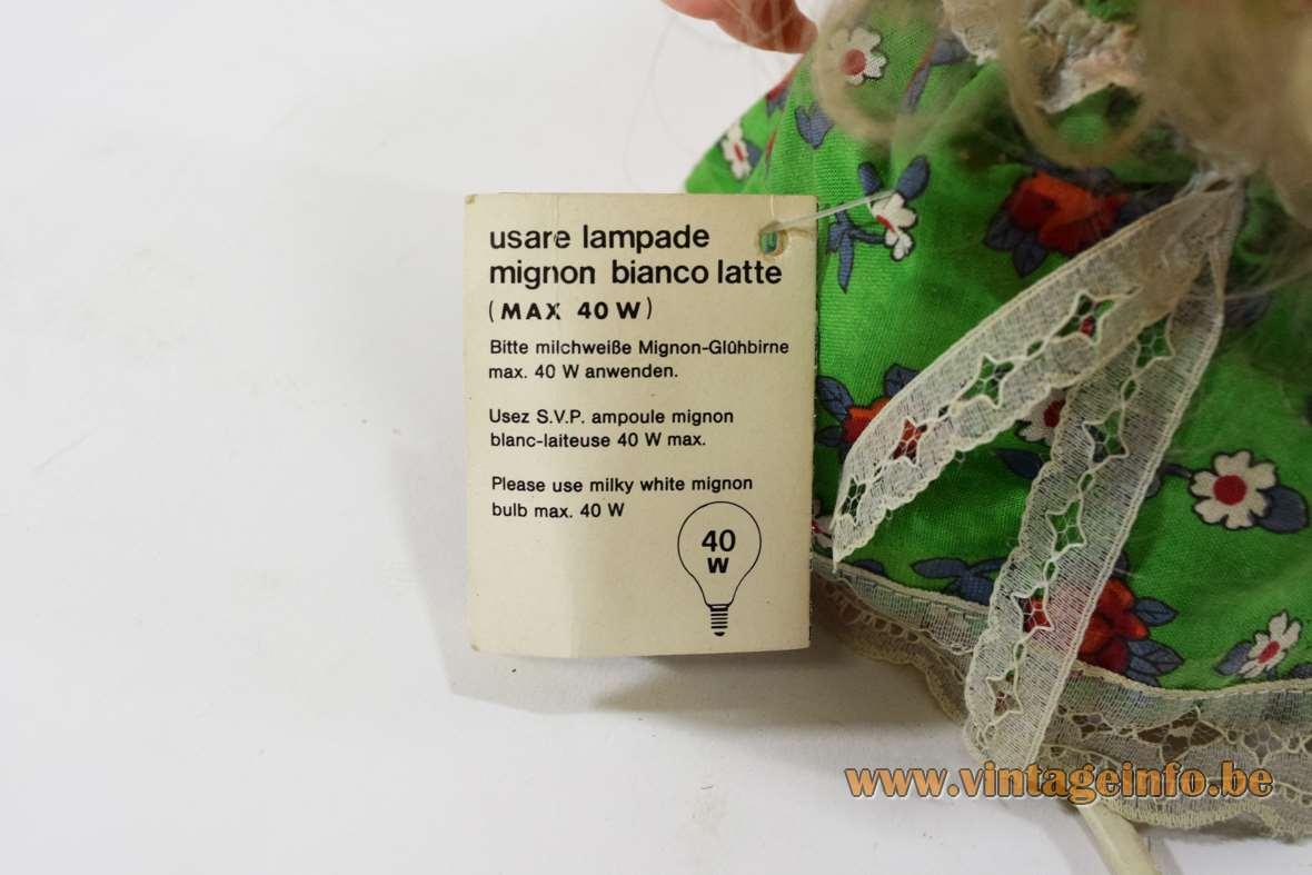 Linea Zero bobblehead rag doll table lamp plastic PVC 1970s 1980s Italy MCM label