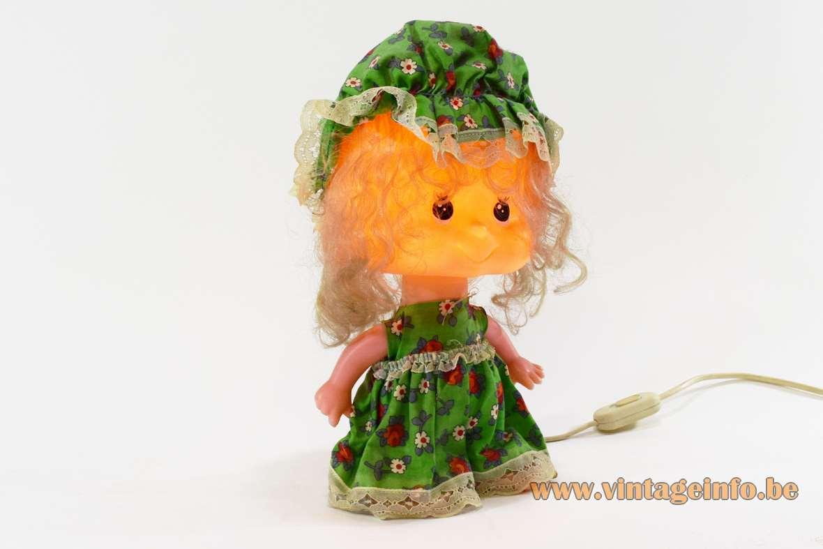Linea Zero bobblehead rag doll table lamp plastic PVC 1970s 1980s Italy MCM