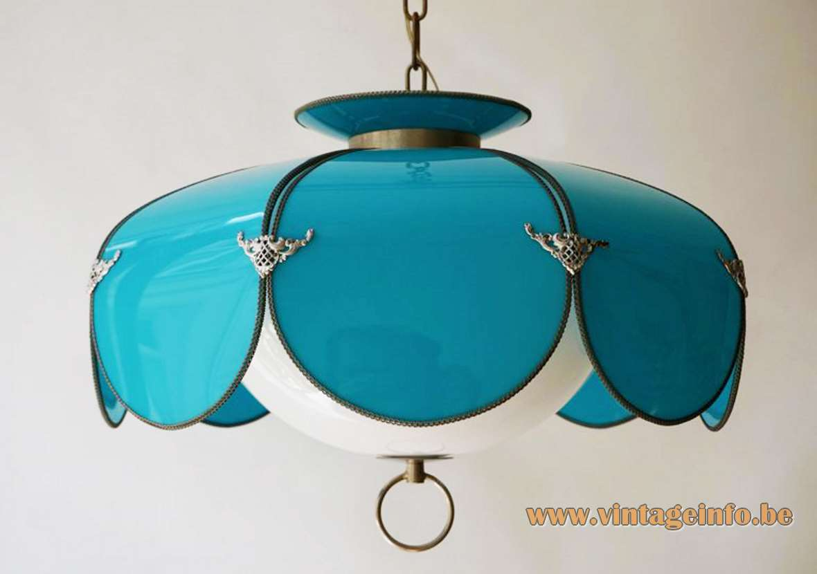 Lotus flower pendant lamp blue petals white acrylic lampshade brass chain 1960s 1950s USA swag MCM