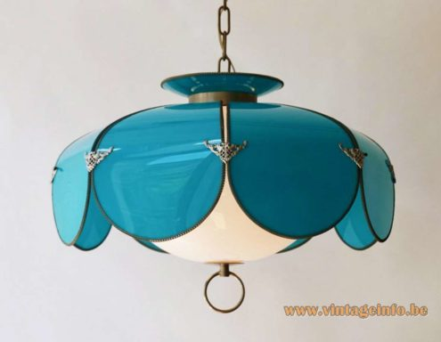 Lotus flower petal pendant lamp swag light USA mid-century modern blue & white acrylic brass 1960s 1950s MCM