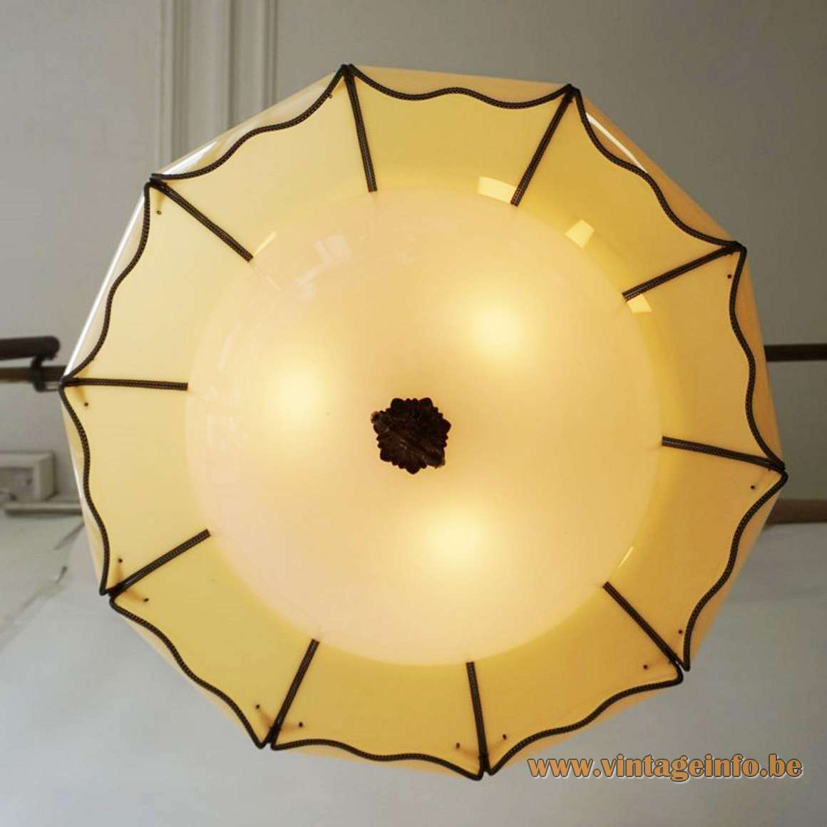 Lotus flower petal pendant lamp swag light USA mid-century modern yellow & white acrylic brass 1960s 1950s MCM