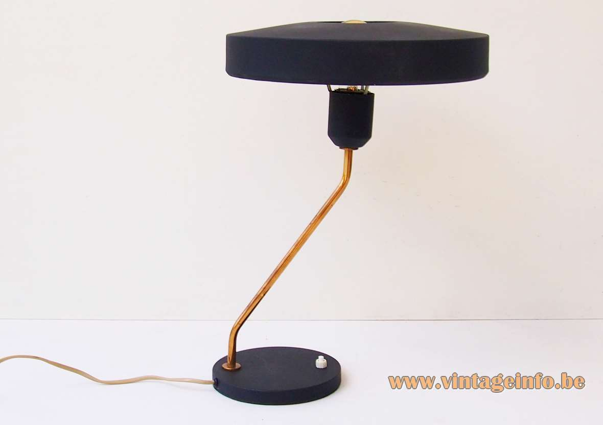 Louis kalff Philips Romeo mushroom/UFO desk lamp brass folded rod round base and lampshade 1960s 1970s