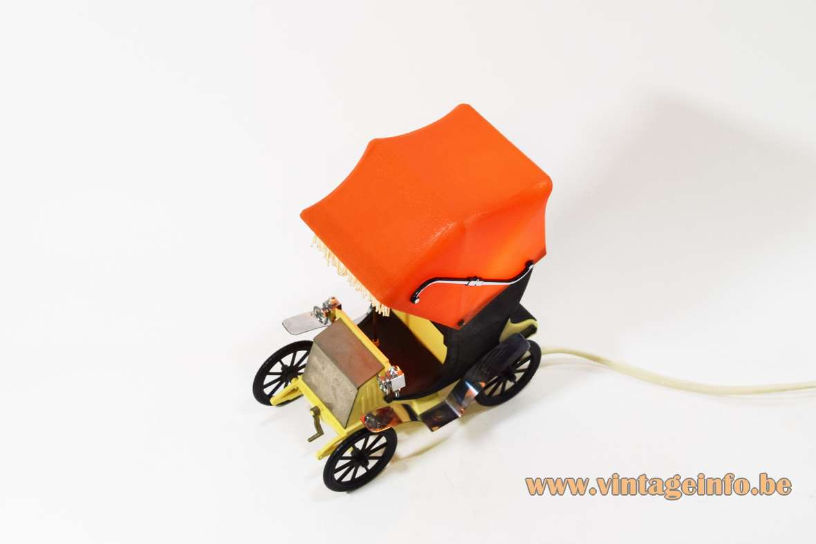 OTF oldtimer table lamp 1900s orange black plastic car auto Old Timer Ferrari Italy 1960s 1970s