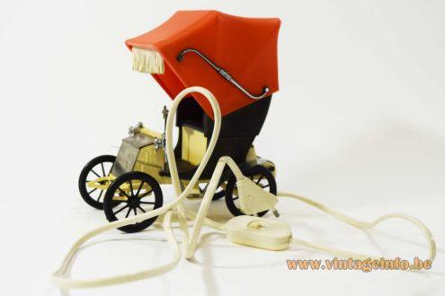 OTF Oldtimer Table Lamp Old Timer Ferrari Verona, Italy 1960s 1970s car auto light MCM 1900s