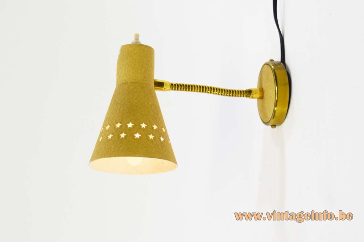 Perforated five-pointed stars wall lamp 1950s 1960s brass gooseneck aluminium lampshade wrinklepaint MCM Italy