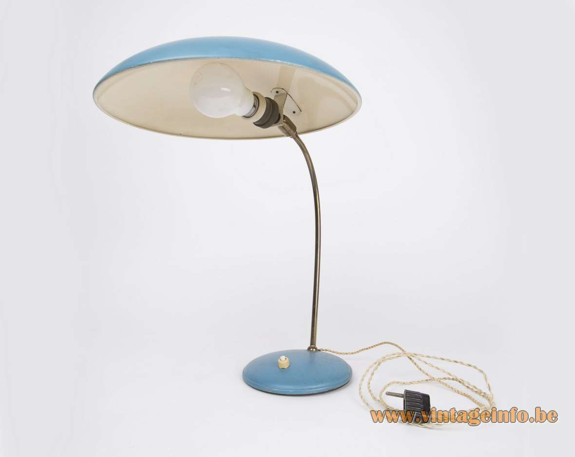 Philips 1950s desk lamp Louis Kalff UFO blue aluminium brass rod round base 1960s MCM