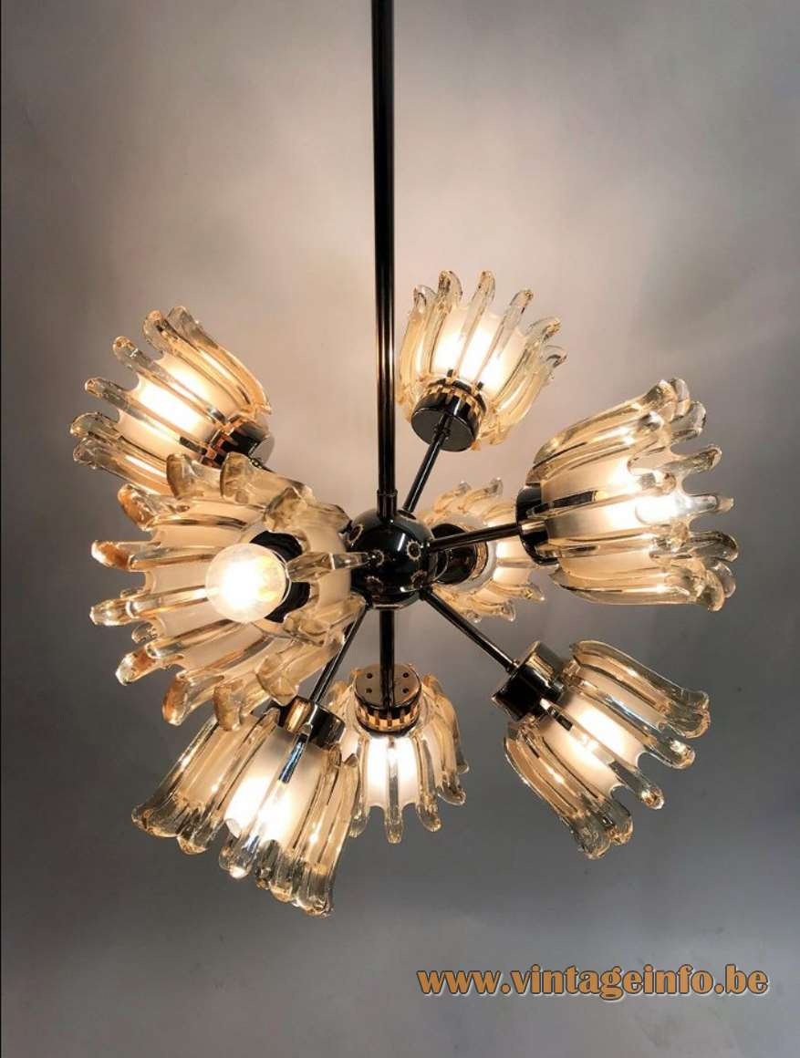 Richard Essig Doria chandelier flowers glass sputnik Besigheim Germany Emil Stejnar 1960s 1970s MCM