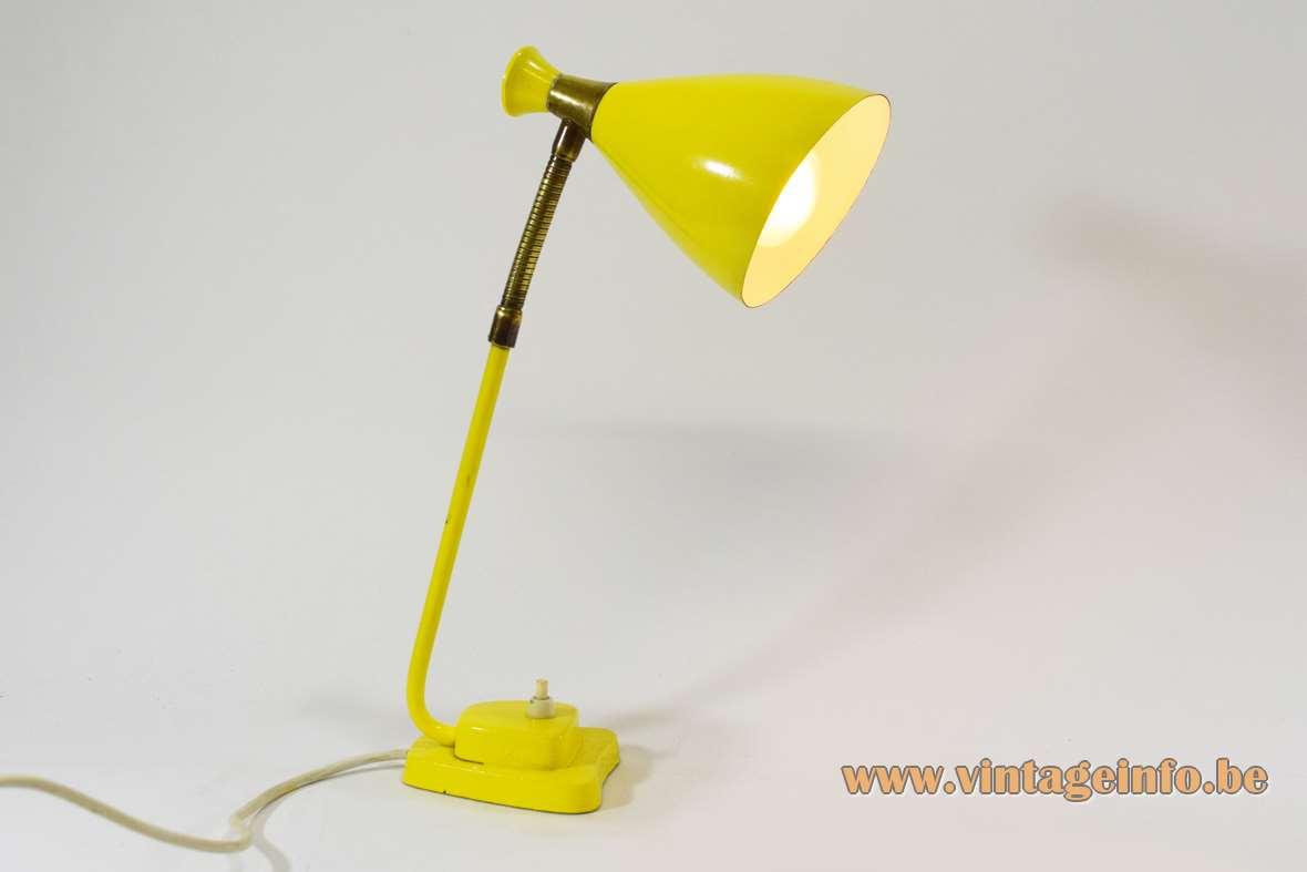 Solbergs Fabrikker 6003 desk lamp yellow diabolo lampshade cast iron base brass gooseneck 1950s 1960s Norway