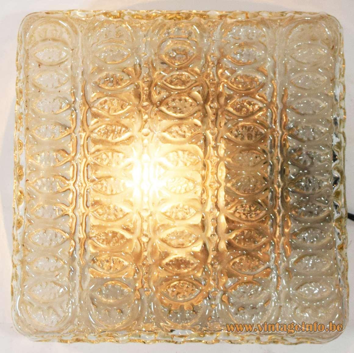 Square amber glass flush mount ceiling lamp embossed 1960s Glashütte Limburg Germany MCM E27 socket 1970s