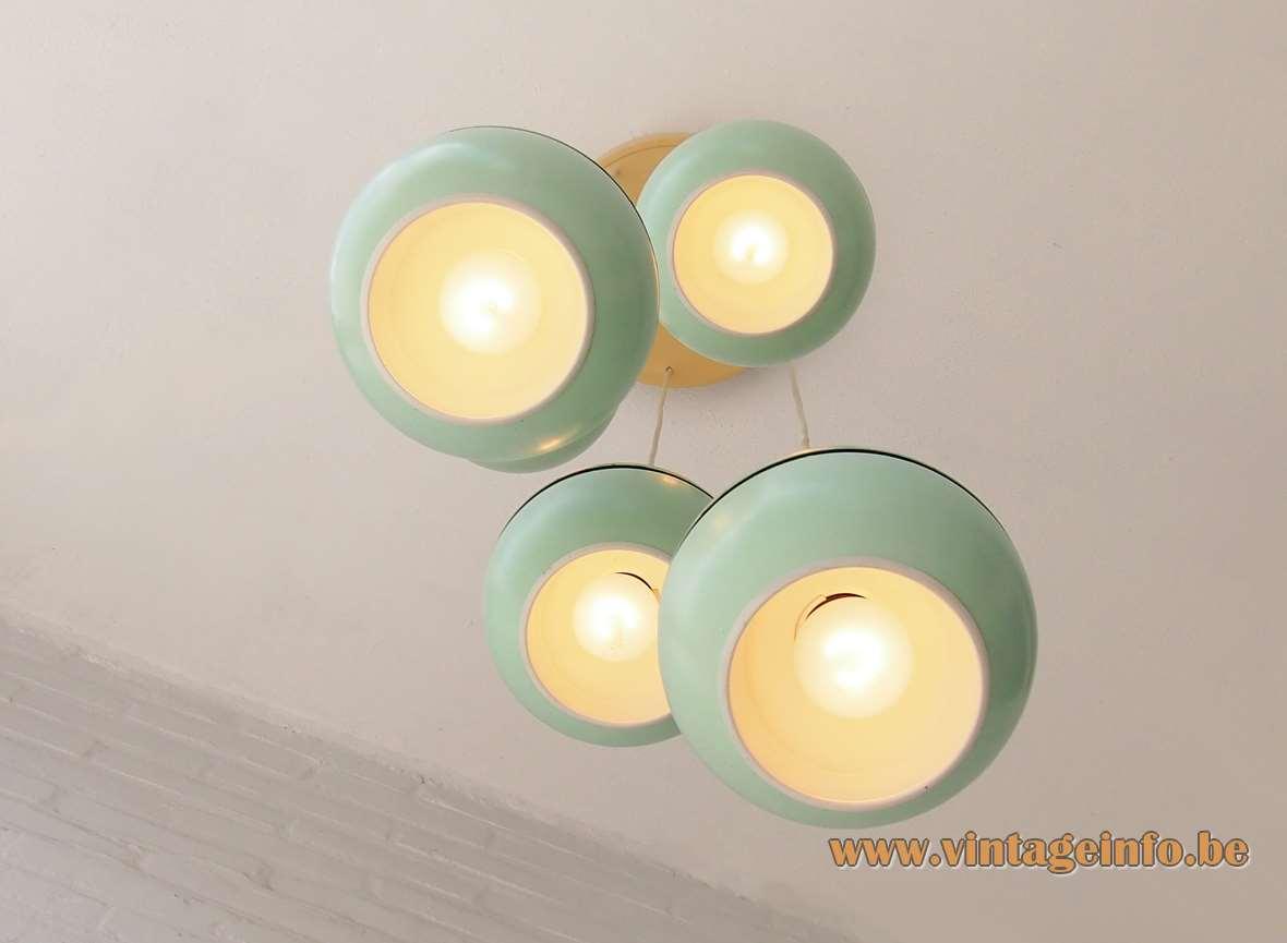 VEB Leuchtenbau cascade pendant chandelier AKA GDR East Germany 5 mint green globes E14 sockets MCM 1960s