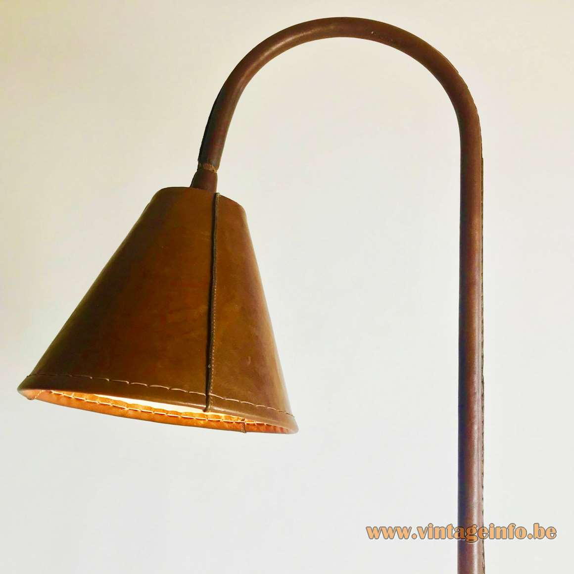Valenti leather floor lamp brown conical base 1950s 1960s 1970s MCM Spain Jacques Adnet