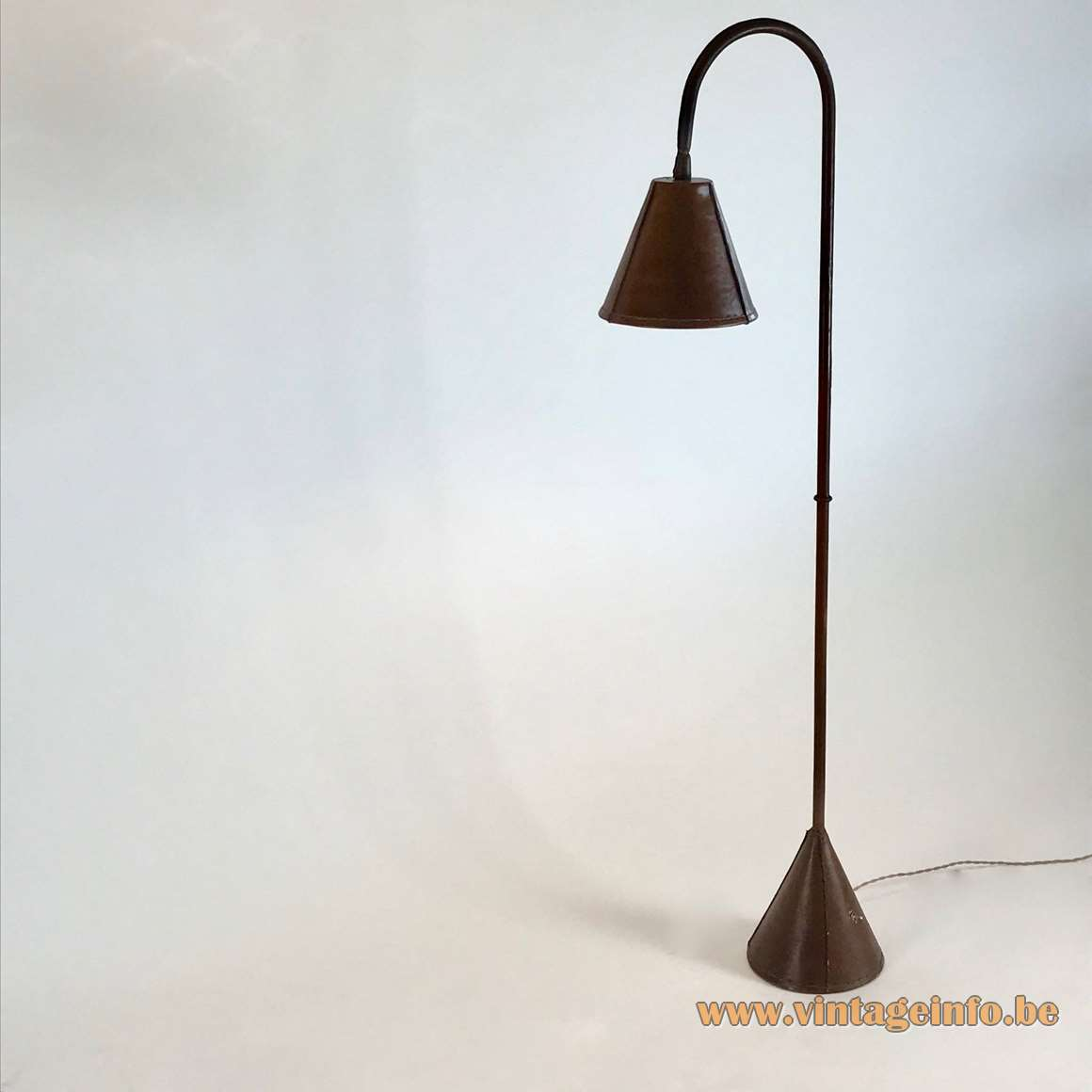 Valenti leather floor lamp brown conical base and lampshade long rod Jacques Adnet 1950s 1960s Spain