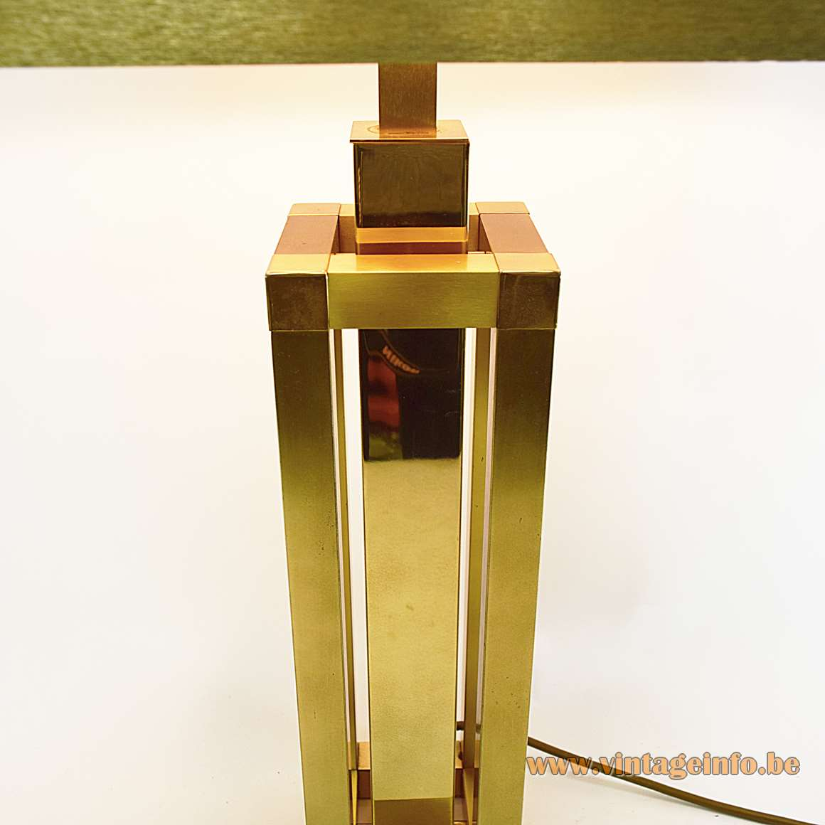 WKR Leuchten Stephane Davidts table lamp brass square tubes base paper lampshade 1980s Romeo Rega Belgium