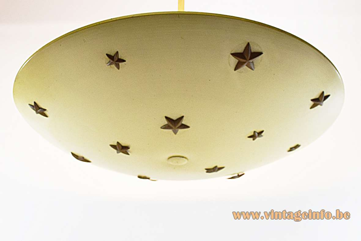 1930s metal dish chandelier with 13 brass five pointed stars and 3 E27 bulbs art deco
