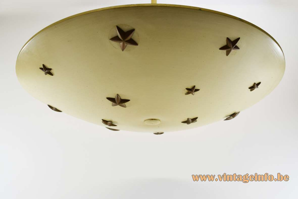 1930s dish stars chandelier ochre curved round lampshade 13 brass five pointed stars pentagram art deco