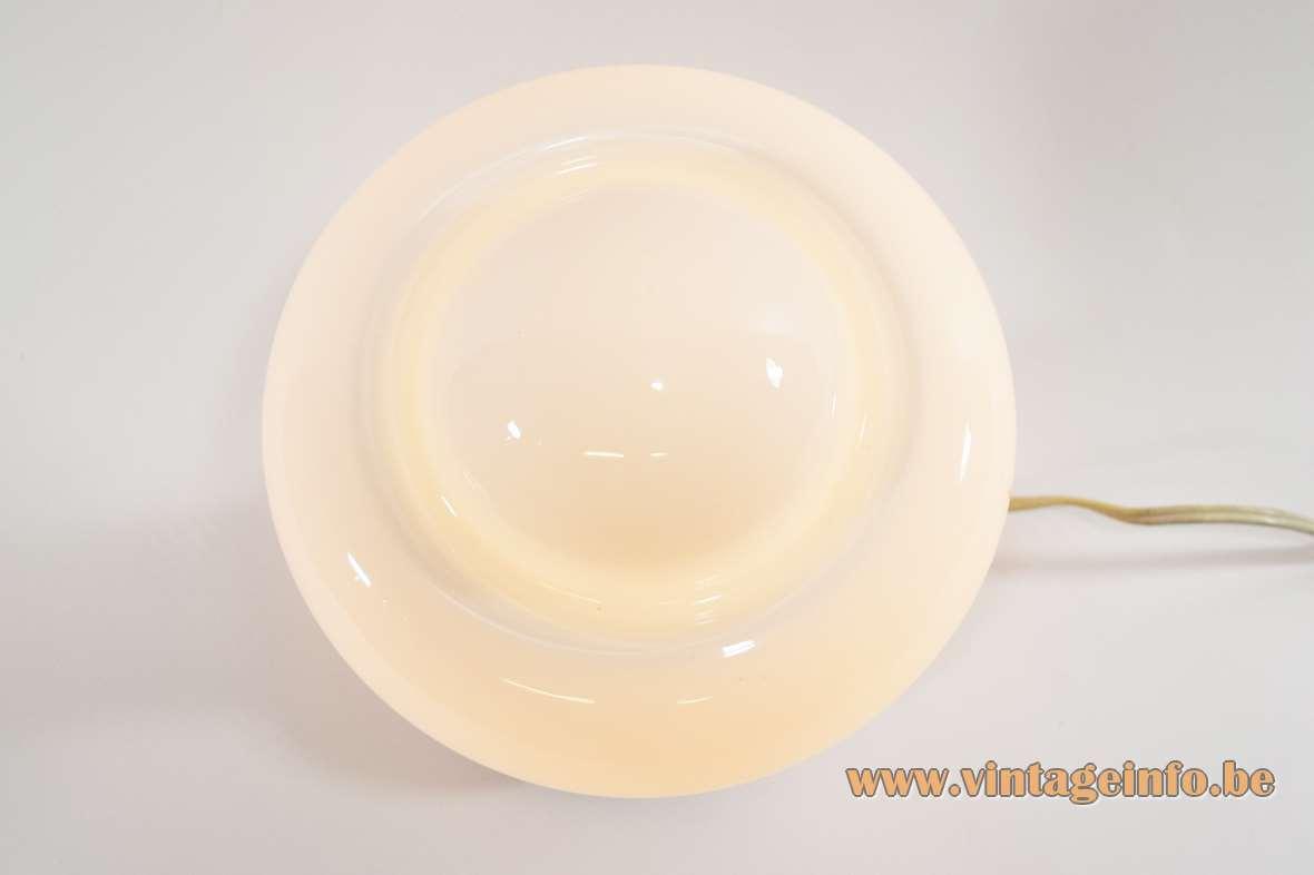 1960s atomic mushroom table lamp white opal glass lampshade round chrome base Massive Belgium 1970s Mazzega