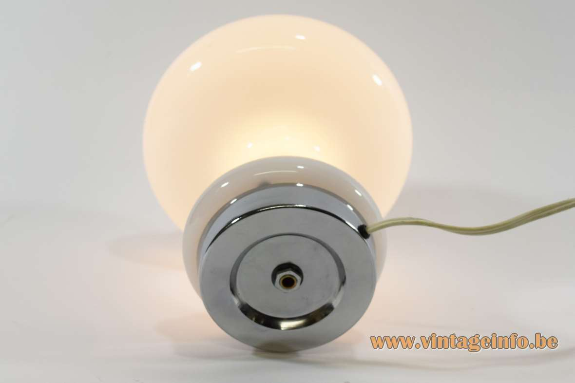1960s atomic mushroom table lamp opal white glass round chrome base E14 socket Massive Belgium 1970s MCM