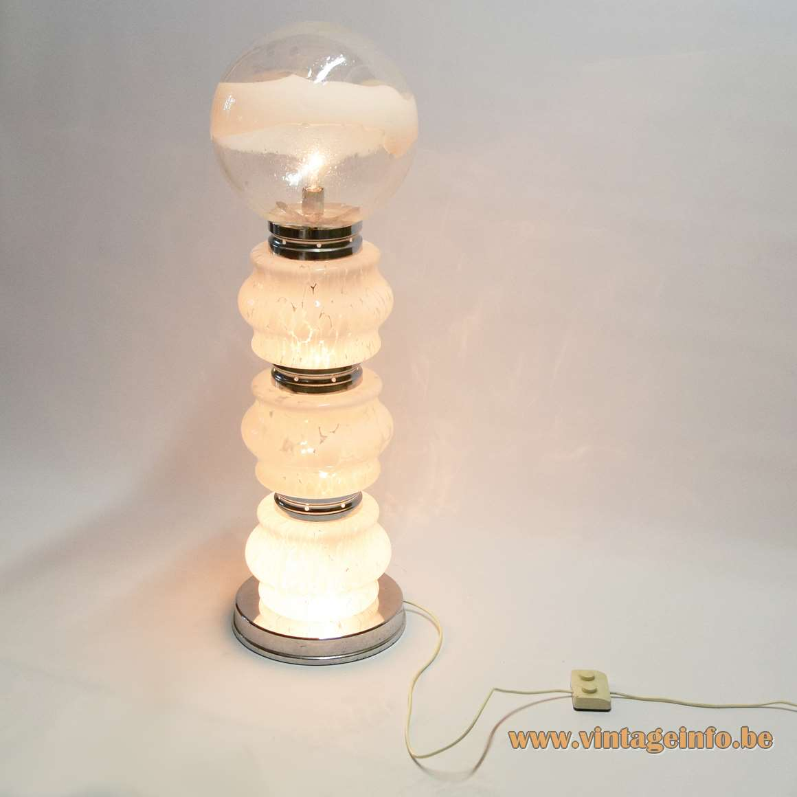AV Mazzega floor lamp 3 curved mottled glass tubes striped Murano globe chrome rings 1970s Italy