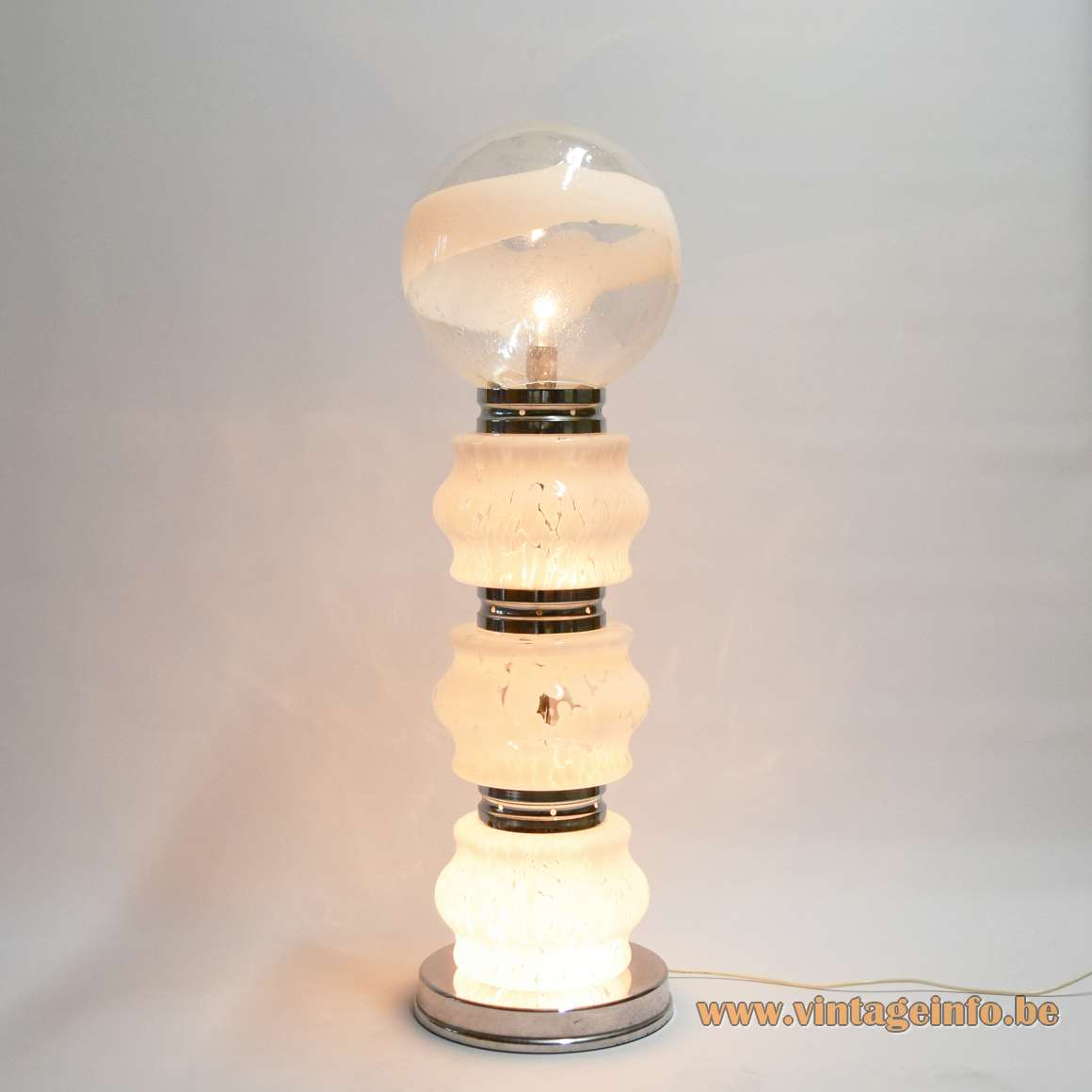 AV Mazzega big floor lamp glass clear and opal globe and 3 segments chrome 1970s MCM