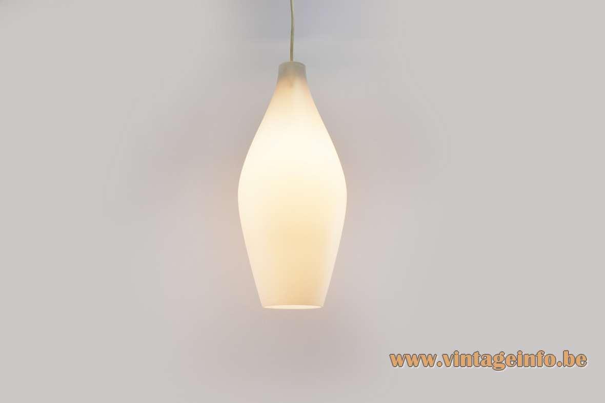 Aloys Ferdinand Gangkofner Granada pendant lamp white opal convex glass lampshade Peill + Putzler 1950s 1960s Germany