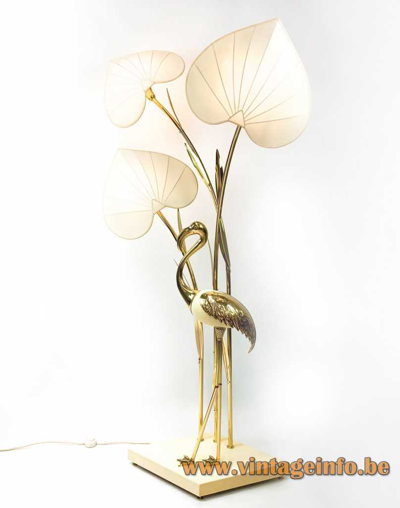 ntonio Pavia crane floor lamp brass bird 3 silk lampshades design: Studio Antonio Pavia 1970s
