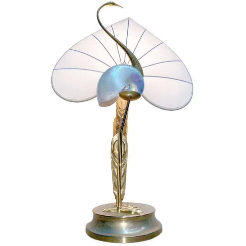 Antonio Pavia crane table lamp brass bird silk lampshade nautilus shell design: Studio Antonio Pavia 1970s