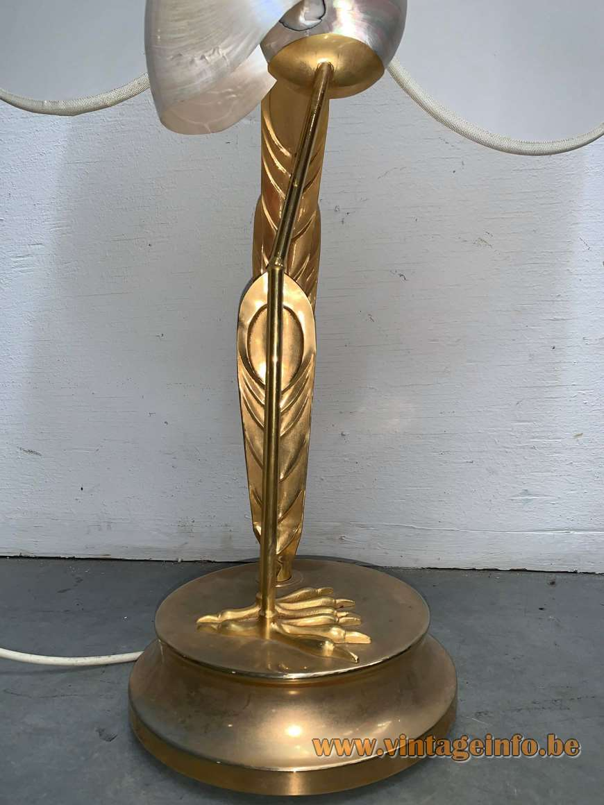 Antonio Pavia crane table lamp brass bird silk lampshade nautilus shell design: Studio Antonio Pavia 1970s