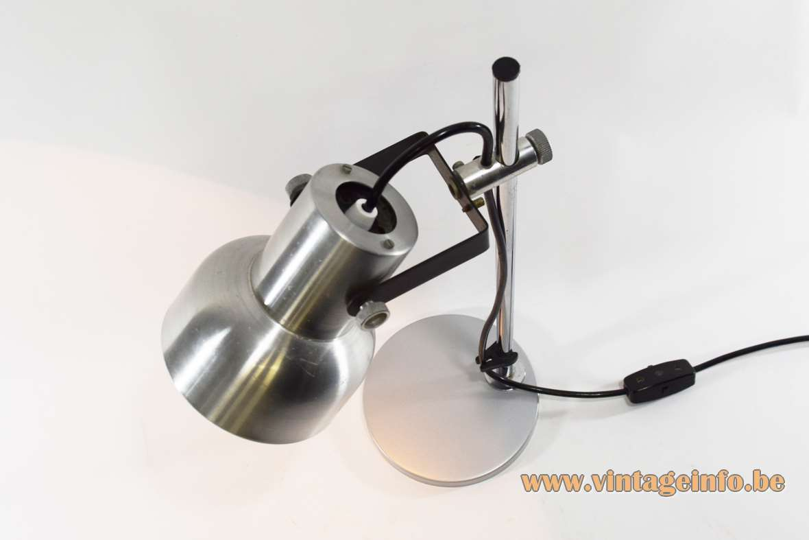 ANVIA aluminium desk lamp round metal base & lampshade chrome rod 1960s 1970s The Netherlands E27 socket