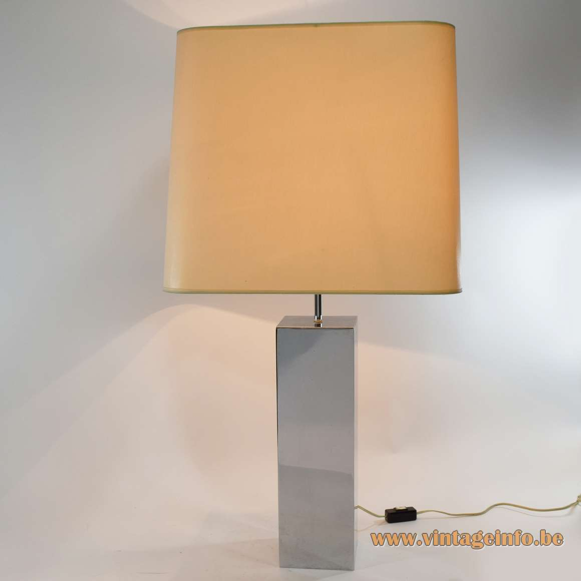 1970s chrome rectangular/beam table lamp 2 E27 sockets fabric lampshade adjustable geometric MCM