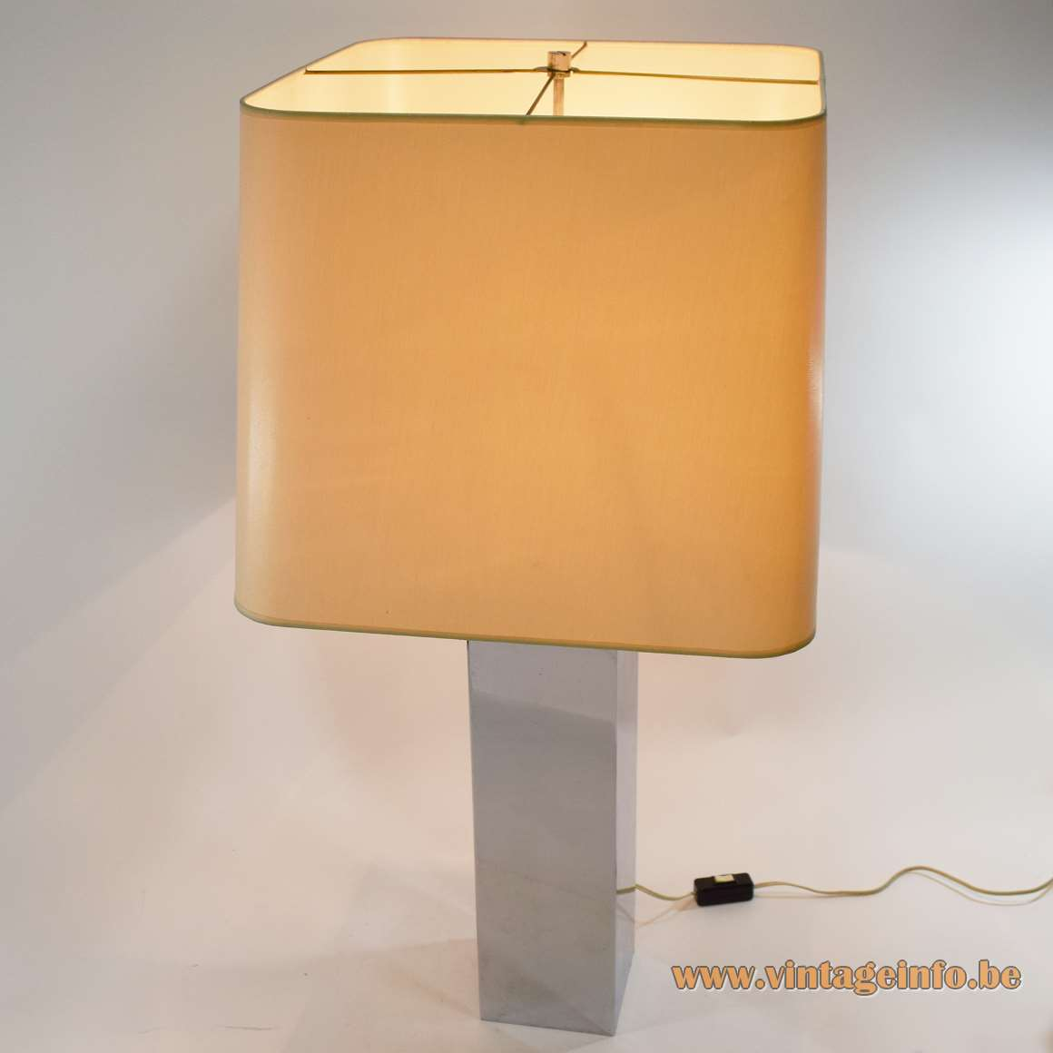 Chrome rectangular table lamp geometric rectangular beam square fabric lampshade Belgo Chrom 1970s 1980s Belgium