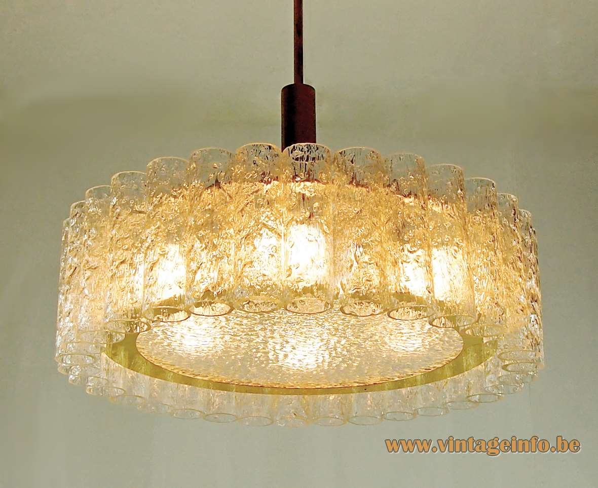 DORIA Mid-Century glass tubes chandelier 32 tubes big disc brass ring 1960s 1970s Germany