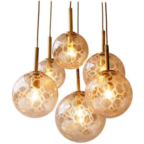 DORIA croco-ice 6 glass globes cascade chandelier brass spider pendant lamps 1970s MCM balls
