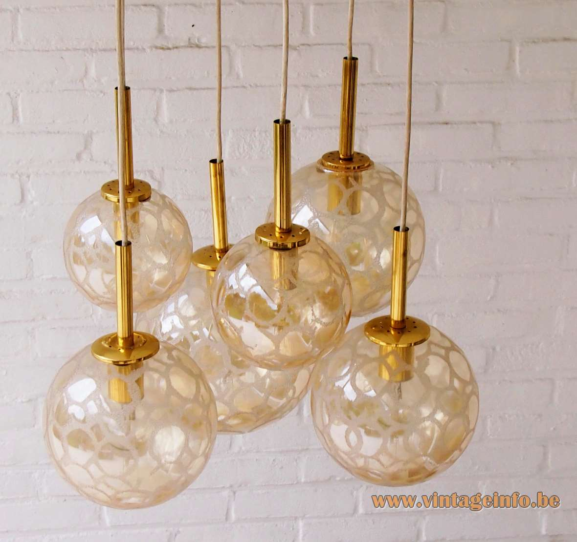 DORIA croco-ice cascade chandelier 6 amber glass globes pendant lamps brass spider mount 1970s Germany