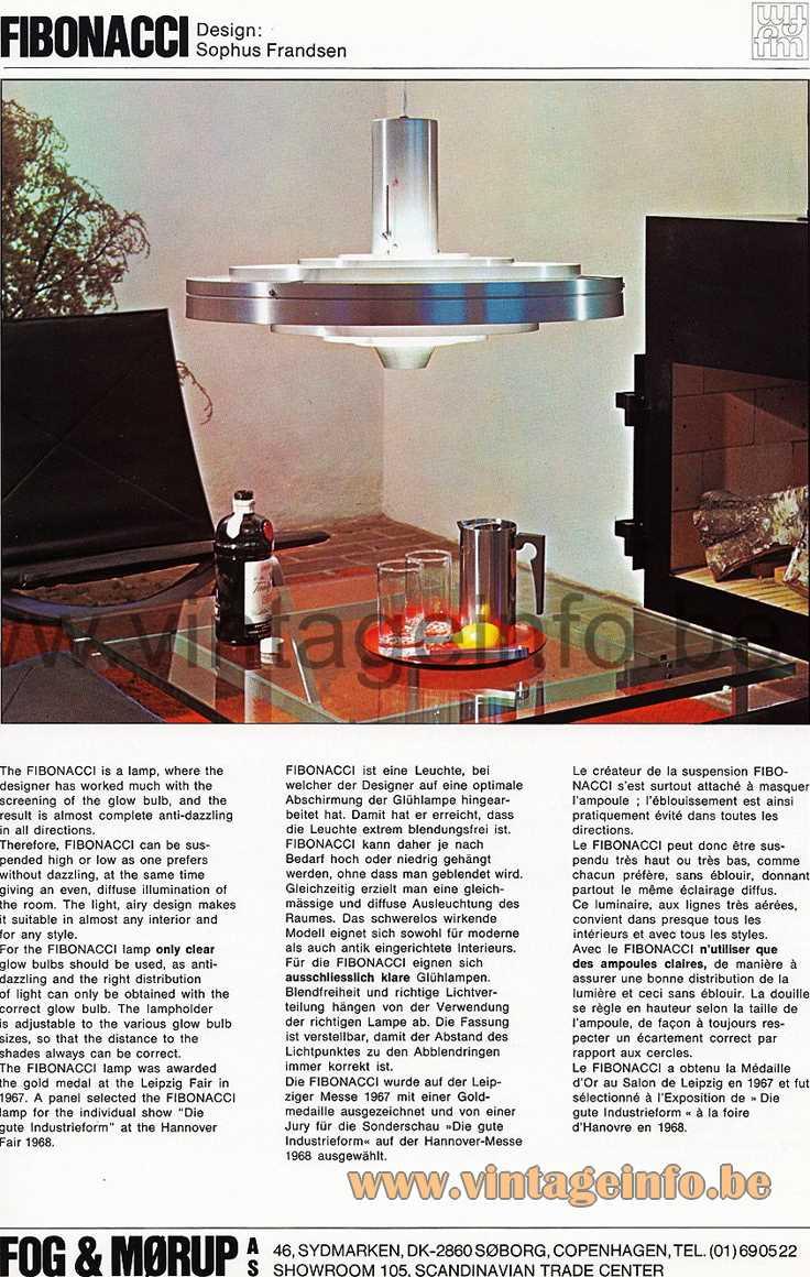 "Fog & Morup Fibonacci pendant lamp design: Sophus Frandsen 1963 aluminium ""Saturn"" rings E27 socket catalogue picture"